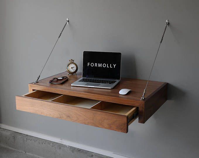Standing Desk Wall Mounted Floating Desk Etsy Floating Computer Desk Space Saving Desk Computer Desk Design