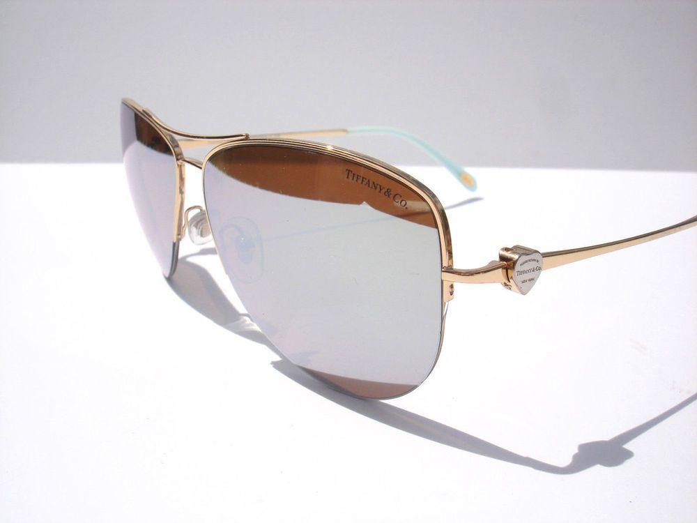 b94fd934e9b5 Tiffany   Co Sunglasses TF 3021 Mirror Aviator Gold 6002 64 Authentic  W case  TiffanyCo  Aviator