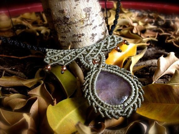 Micro macrame Amethyst necklace with moss green and by MAkreations