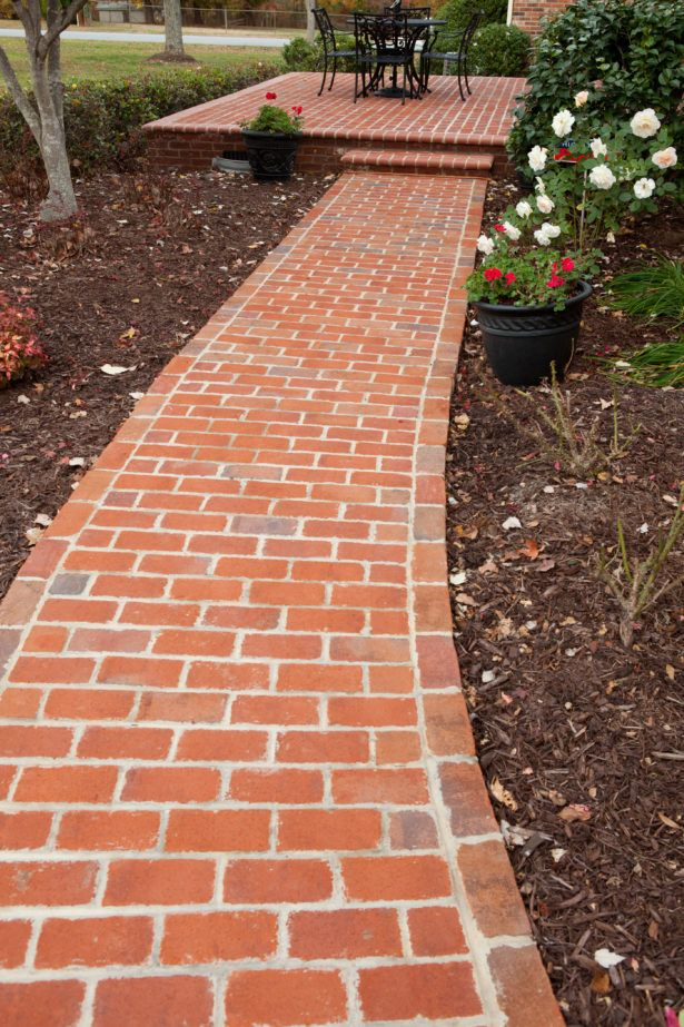 Exterior Brick Lined Walkway Brick And Concrete Walkway Concrete ...