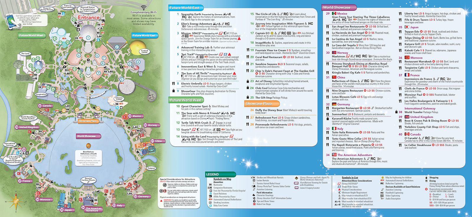 Walt Disney World Park And Resort Maps   New 2013 Epcot Guidemap