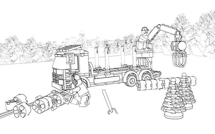 Lego Coloring Sheet 60059 Logging Truck Train Coloring Pages