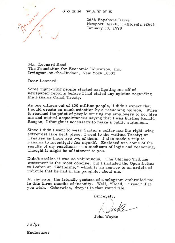 Letter from John Wayne to Leonard Read on January 30, 1978 - leave application form for office