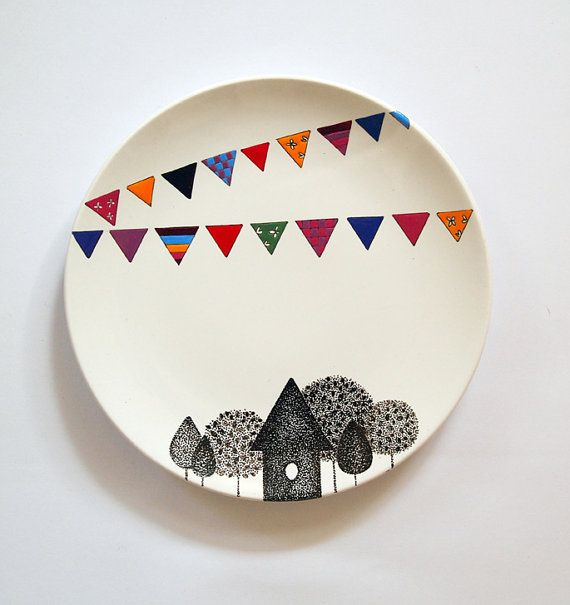 Village Wall Plate  Small size by ZuppaAtelier on Etsy, $48.00
