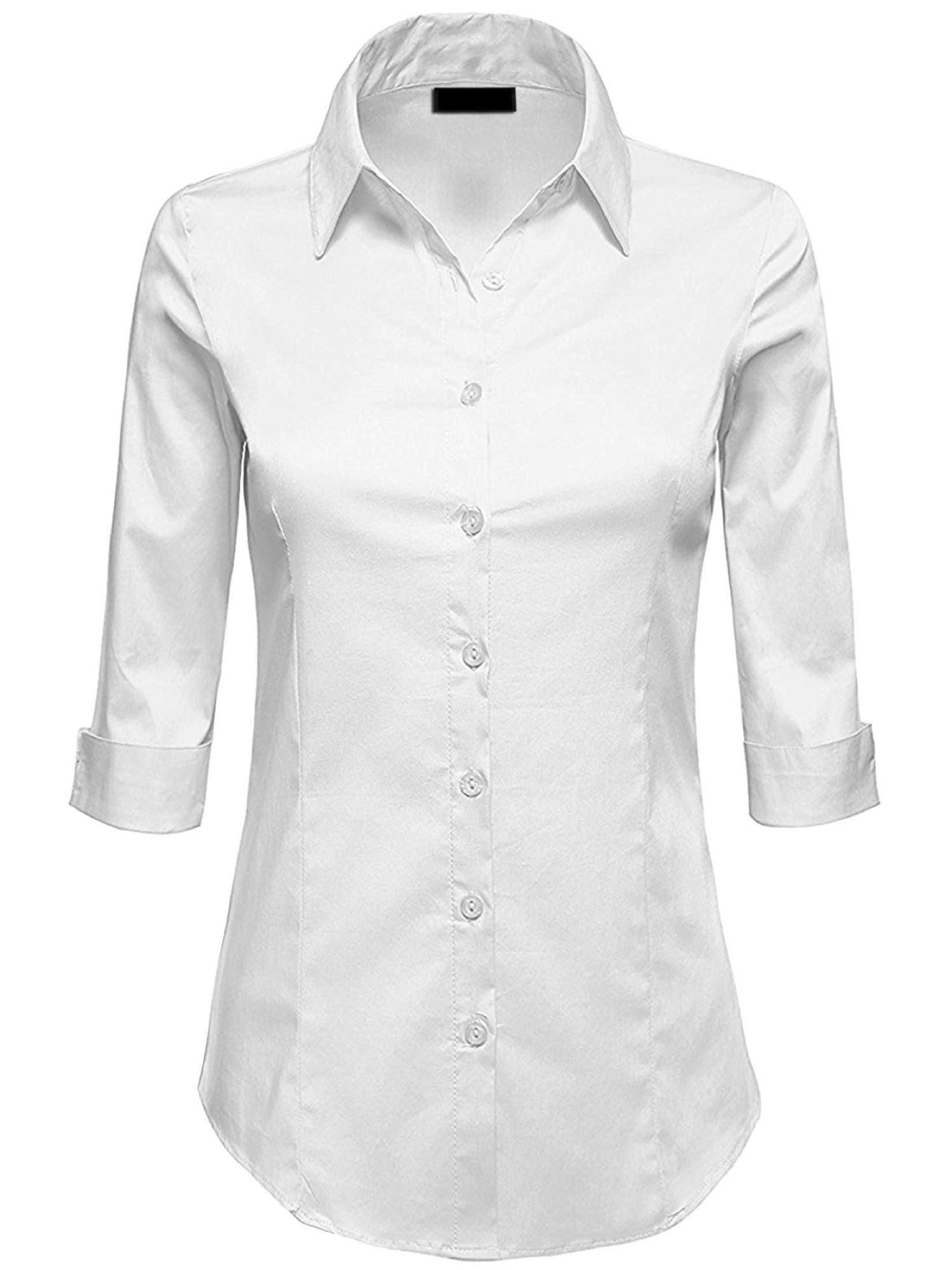 Free 2 Day Shipping Buy Mbj Wt1947 Womens 3 4 Sleeve Tailored Button Down Shirts M Bright Whit Women Shirts Blouse Women S Button Down Shirt Blouses For Women [ 2200 x 1650 Pixel ]