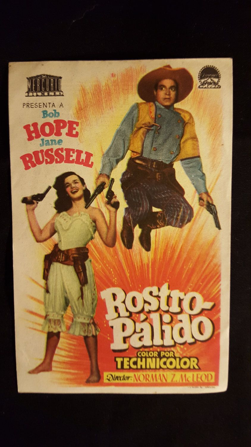 Original 1948 The Paleface Spanish Herald Movie Poster Jane Russell Bob Hope Cowboy Western