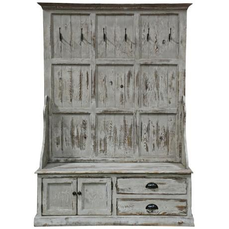 ENTRYWAY // Would Not Need Separate Hooks Or Art Even, Windsor Distressed Entry  Storage Bench