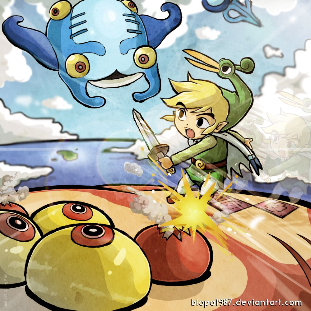 Link vs Gyorg pair, The Legend of Zelda: The Minish Cap artwork by Blopa1987.