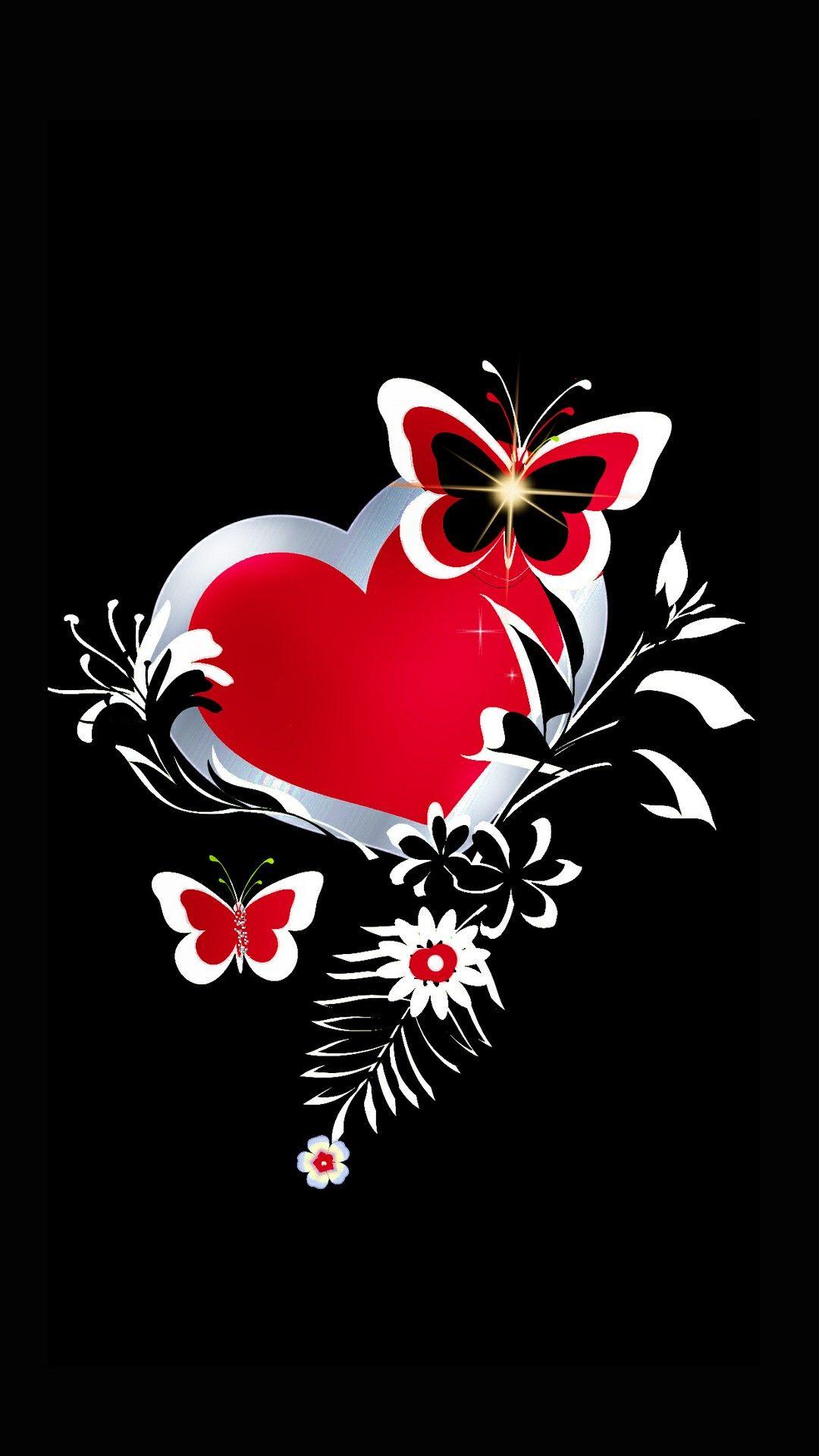 Red Heart W Butterfly Heart Iphone Wallpaper Valentines Wallpaper Butterfly Wallpaper