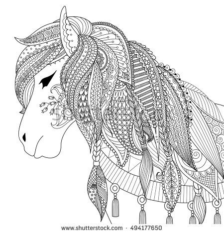 Zendoodle design of horse for adult coloring book for anti stress ...