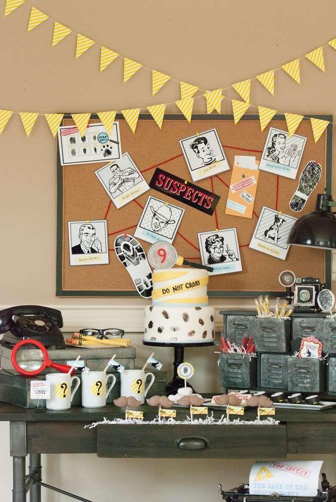 Photo of Desserttisch auf einer Detektivgeburtstagsfeier! Weitere Ideen für die Partyplanung finden Sie unter Ca …