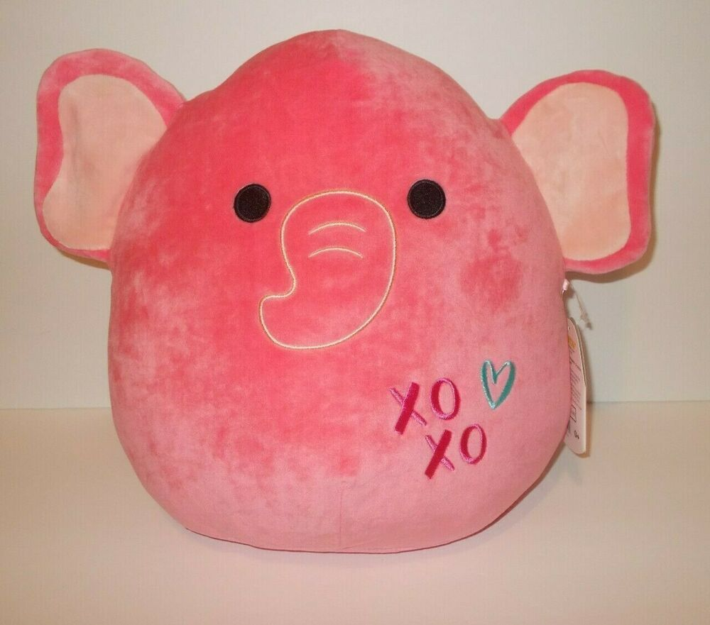 Squishmallow 13 Ethan The Pink Valentine Elephant Plush Doll Kelly Toy Kellytoy Elephant Plush Plush Dolls Animal Plush Toys