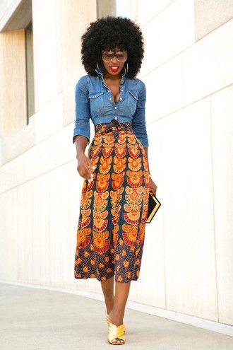 88c9b86de3c blogger shirt skirt bag sunglasses shoes denim jacket maxi skirt african  print…