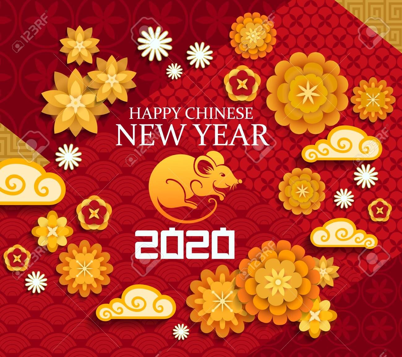 Happy Chinese New Year, 2020 rat mouse lunar zodiac sign