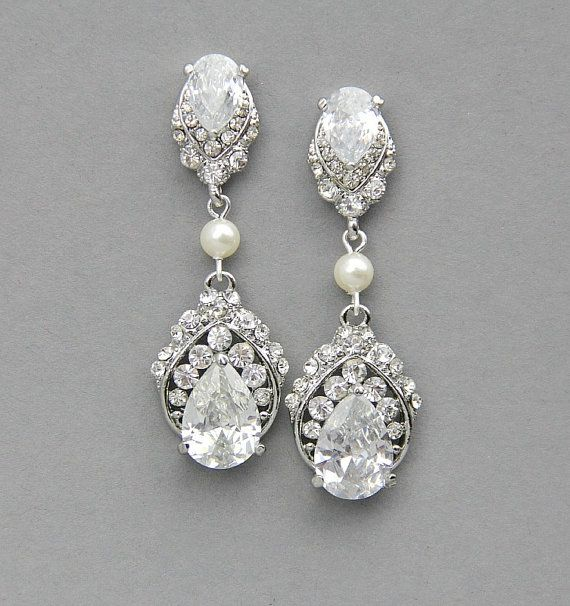 Wedding Earrings Bridal Jewelry Vintage Pearl Crystal