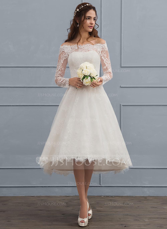 Photo of JJsHouse A-Line Off-the-Shoulder Asymmetrical Lace Wedding D…