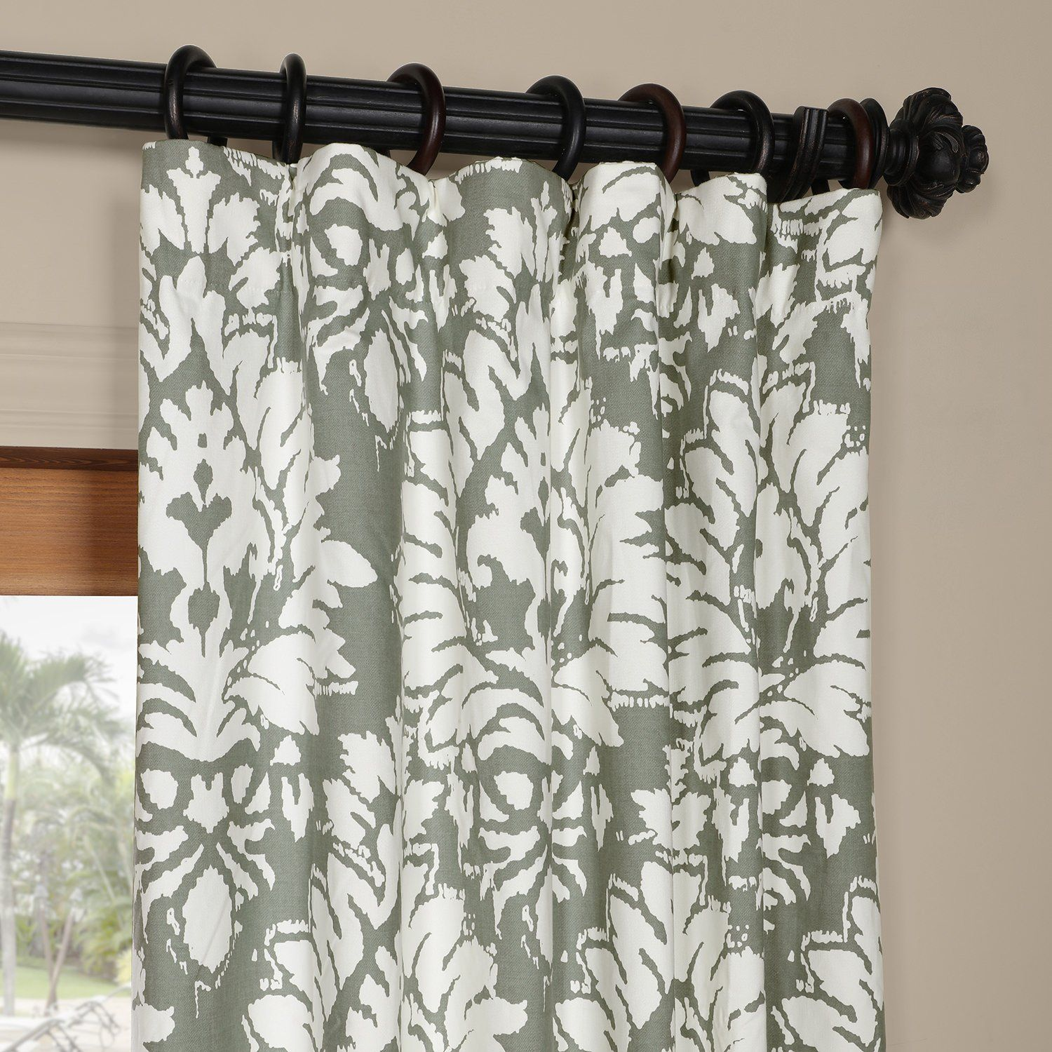 Flat Panel Drapery With White Floral Medallion On Gray Cotton