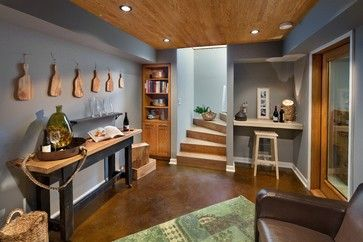 Basement stained concrete floor Design Ideas, Pictures, Remodel and Decor