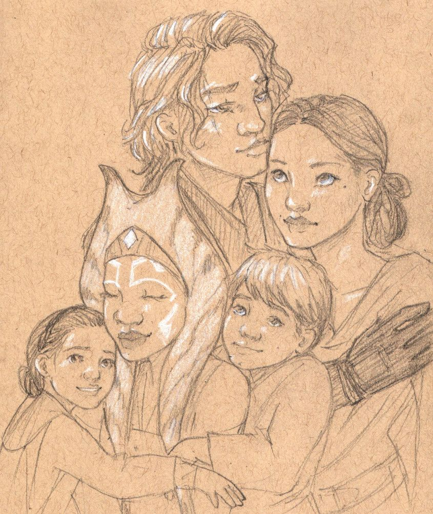 Happy Skywalker Family Au Featuring Auntie Soka Coming To