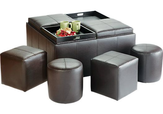 Beautiful Rooms To Go. 9 PC Storage Ottoman Set. $250 Rooms To