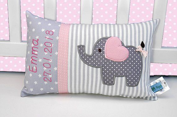 Personalized pillow for birth or baptism, eefant, pink, cotton fabric, cuddly pillow, children's pillow, name pillow, baby,