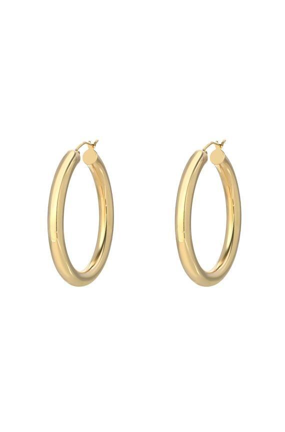 Huge Dusty Pave 14 kt yellow gold Hoop earrings