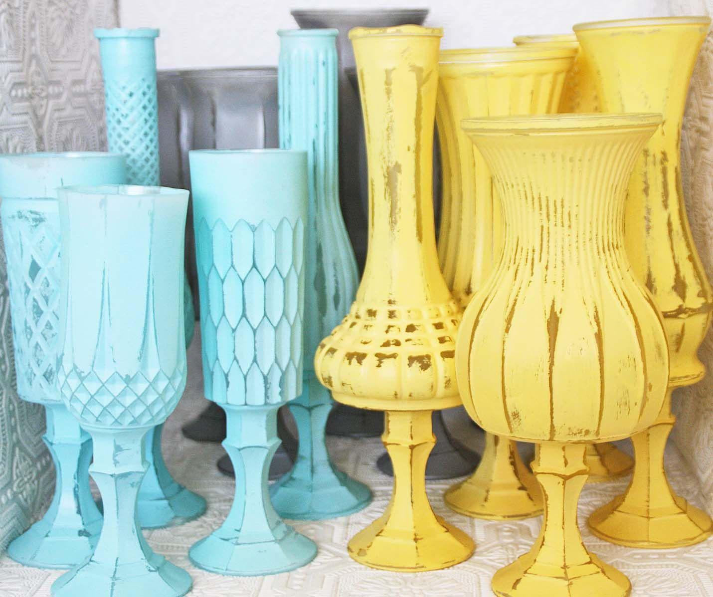 Tiffany Blue Yellow & Grey Shabby Chic Vintage Pedestal Vase Set ...