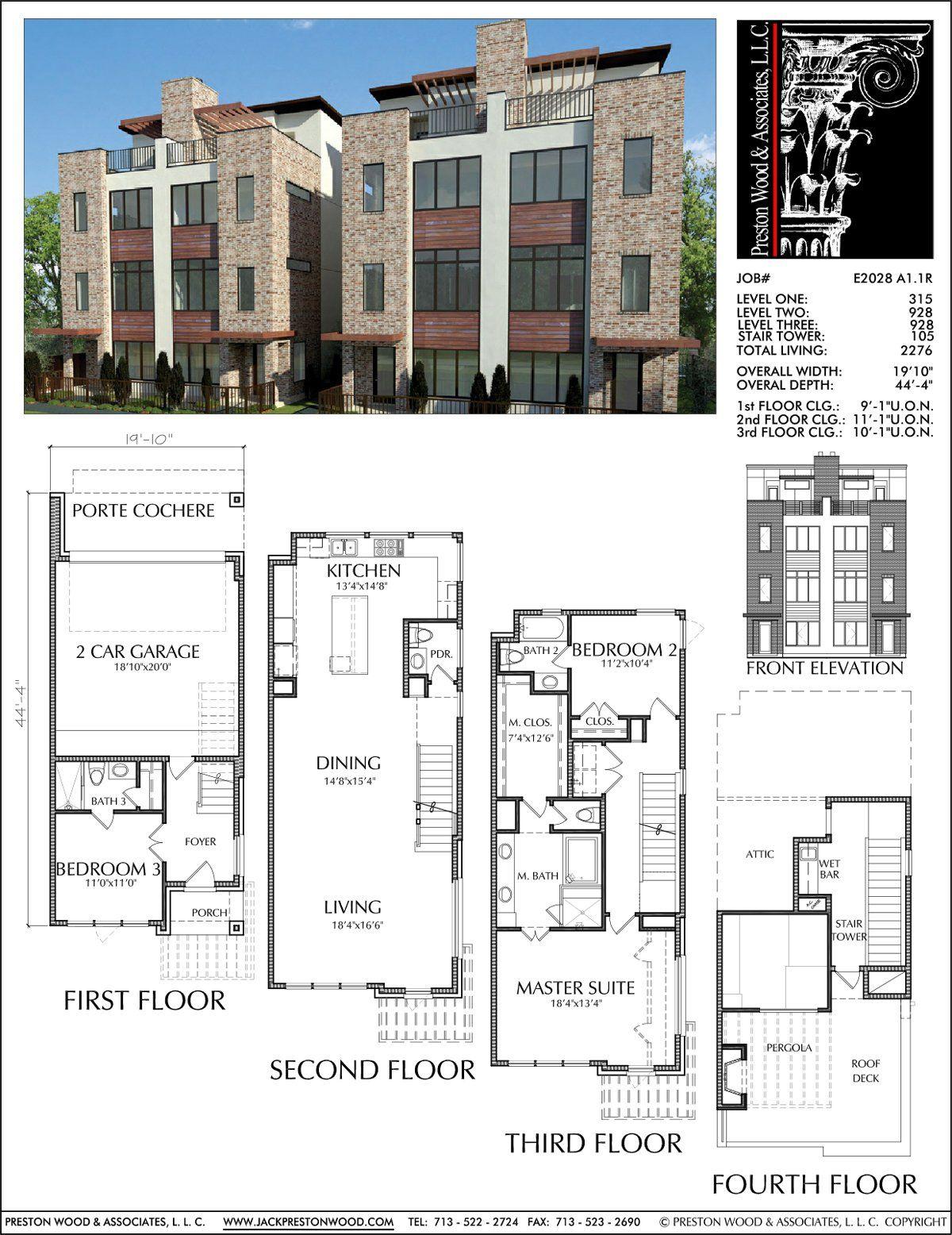 Duplex Townhomes Townhouse Floor Plans Urban Row House Plan Designer Preston Wood Associates Town House Plans Family House Plans House Floor Plans