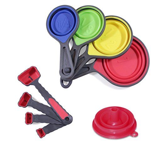 Measuring Cups And Spoons Set 9 Pieces 4 Collapsible Red Baking Cooking Utensils Bonus Funnel By