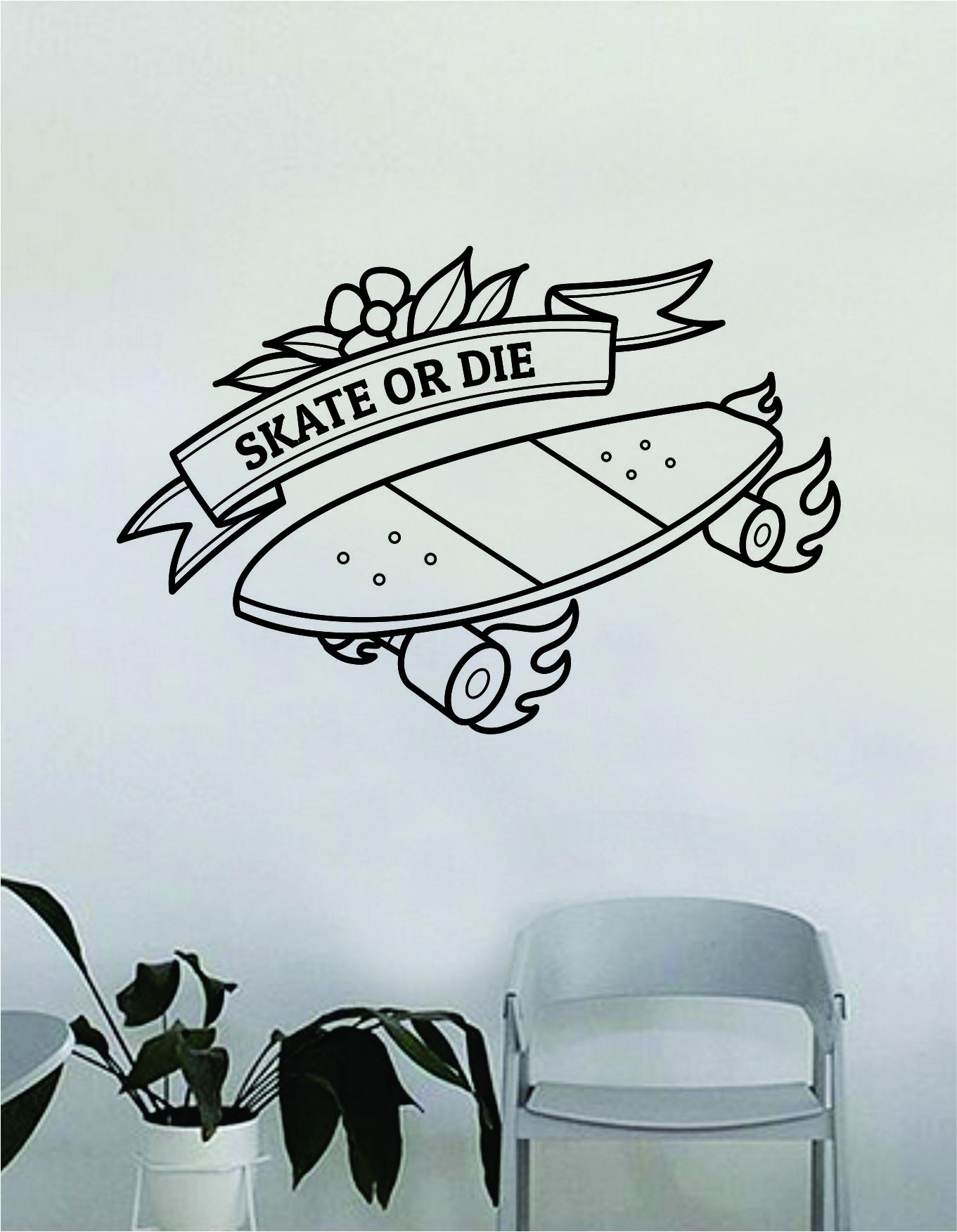 Skate Or Design Wall Decal Decor Decoration Sticker Vinyl Art Bedroom Room Teen Quote Sports Skating Skateboard - red