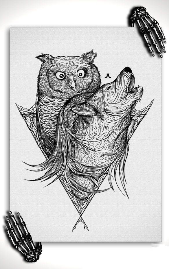 Owl With Wolf Sketch Wolf Sketch Wolf Tattoo Fox Tattoo