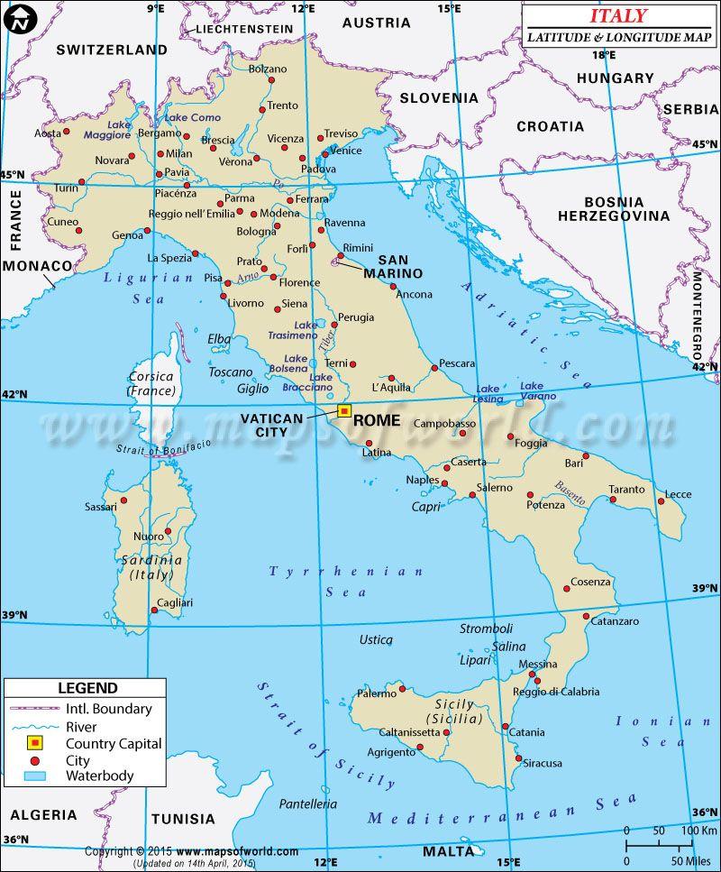 Italy Latitude And Longitude Map Con Imagenes Campo