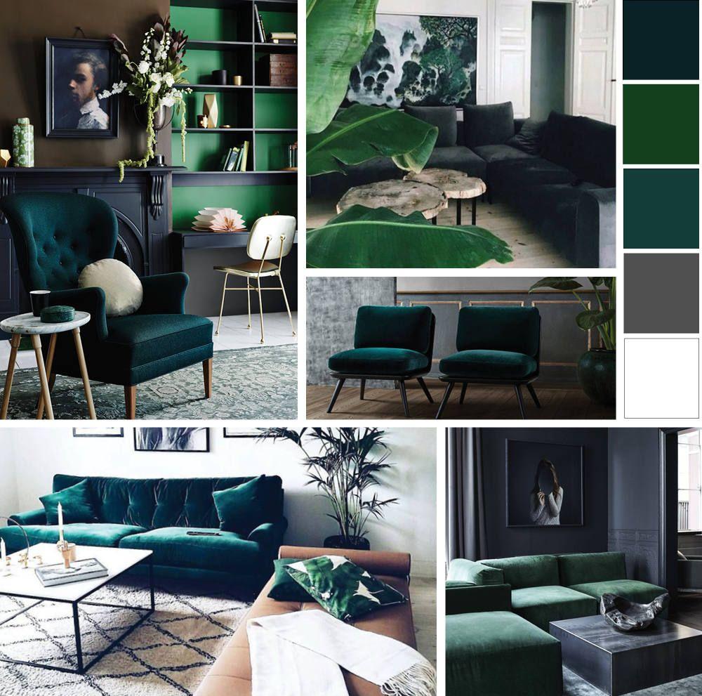Home Inspired Green Velvet is part of Dark green living room -
