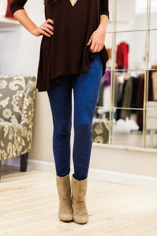 Beat of Your Own Drum Blue Suede Leggings
