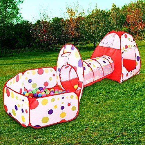 Children Polka Play Tent Tunnel Tube Teepee Playground Pop-up Garden Basketball & Children Polka Play Tent Tunnel Tube Teepee Playground Pop-up Garden ...