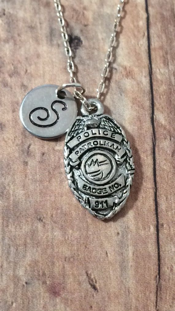 Police badge initial necklace police jewelry by kimsjewelry police badge initial necklace police jewelry by kimsjewelry mozeypictures Choice Image