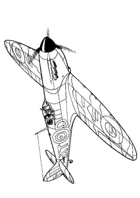 Coloring Page Wwii Aircrafts Spitfire 1940 Airplane Coloring