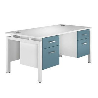 Home U0026 Haus Lepus Writing Desk With Double Pedestal