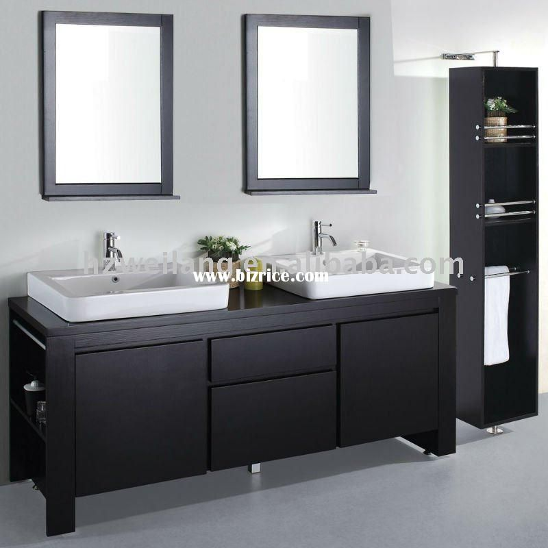 double bathroom white sinks espresso cabinet black framed mirrors over sinks clean square lines