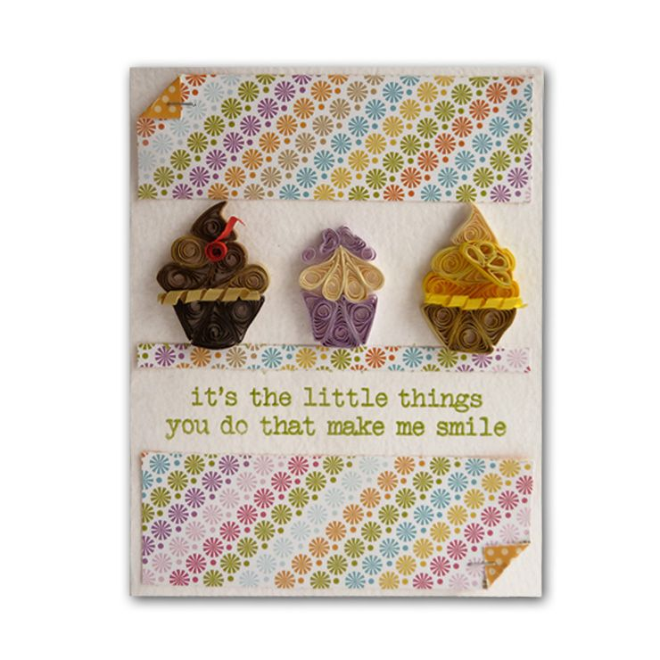 Quilled Cupcakes Embossed Card