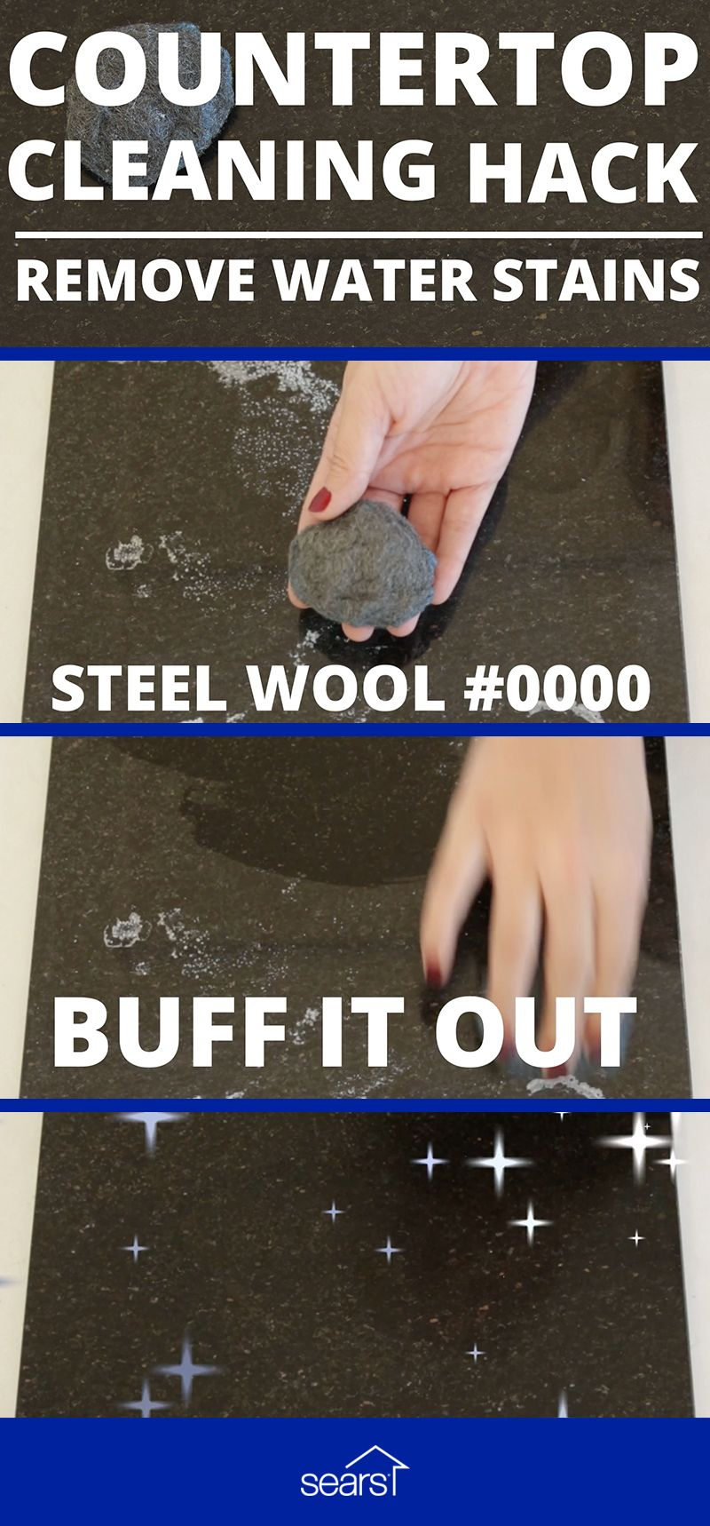 Remove Hard Water Stains And Rings From Quartz Using Steel Wool We Ll Try 0000 To Buff Out Spots On Countertops