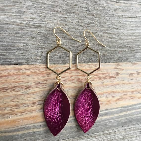 Metallic Leather Leaf Earrings on Gold Geometric Hexagon - Choose Your Color - Modern Dainty Elegant #metallicleather