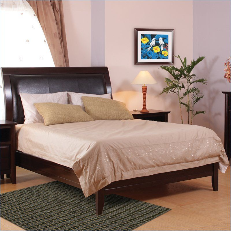 $595.00 Modus City II Leatherette Upholstered Low Profile Sleigh Bed In  Coco Finish   1X50LX   Home Design Ideas