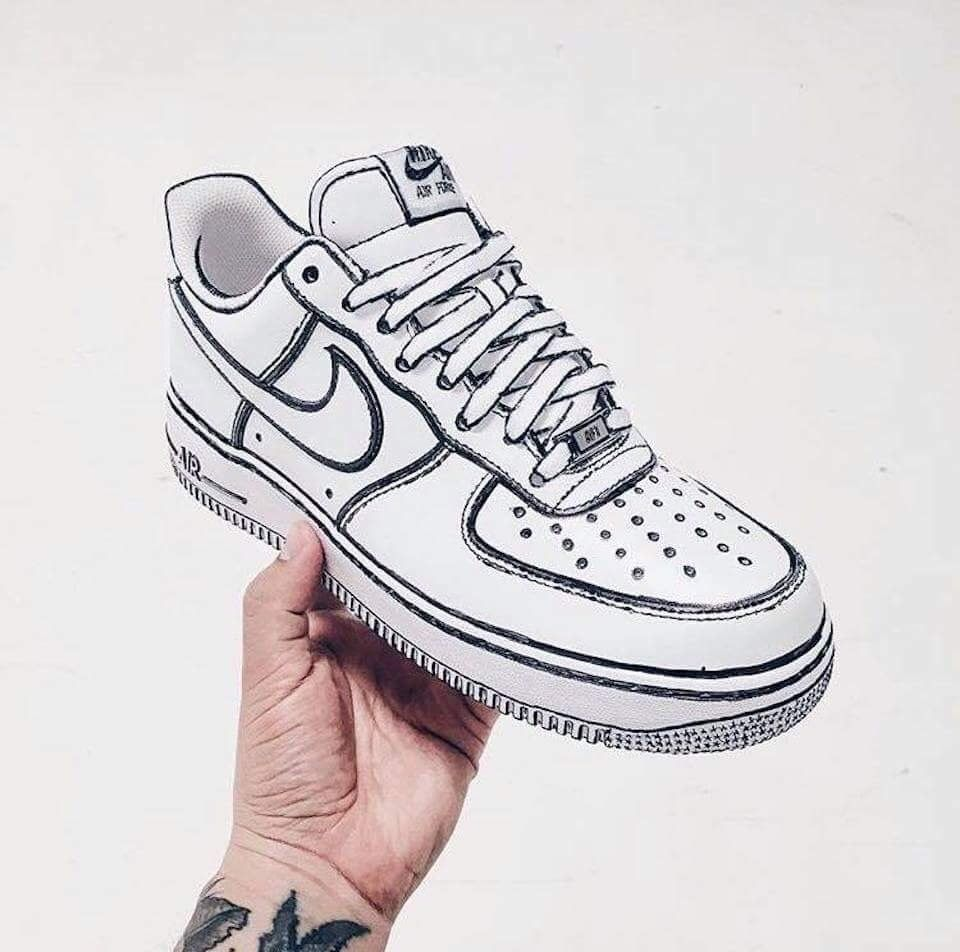 AIR FORCE ONE AF1 AF1s Custom DIY White Black Sketch