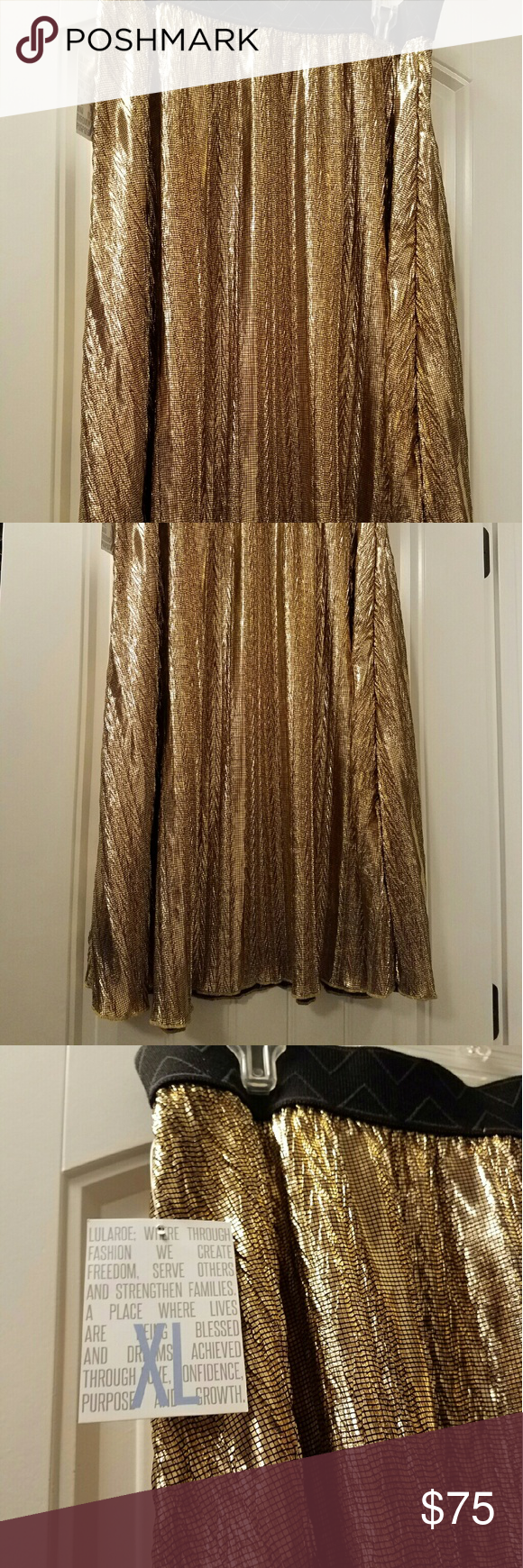 Lularoe Jill - Hard to Find, Elegance XL This is a beauty and this pattern is a gold foil-like material, very hard to find. Never been worn. XL in Lularoe Jill which is equivalent to size 16-18.  Cross-posted LuLaRoe Skirts