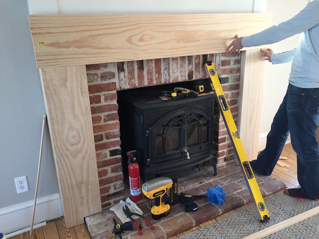 A Custom DIY Fireplace Mantel Beneath Our Shiplap in 2020