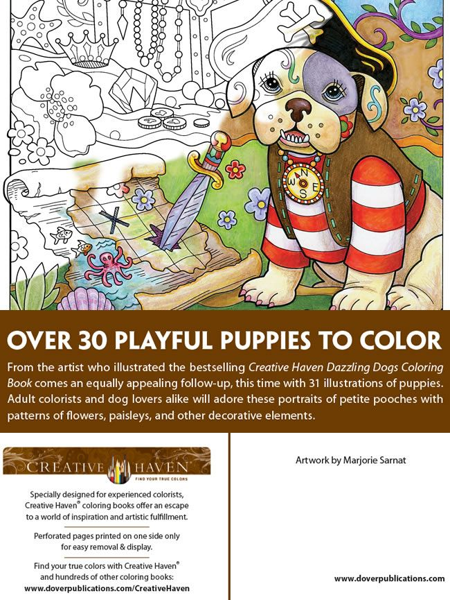 Creative Haven PLAYFUL PUPPIES Coloring Book By Marjorie Sarnat Welcome To Dover Publications ABOUT THIS