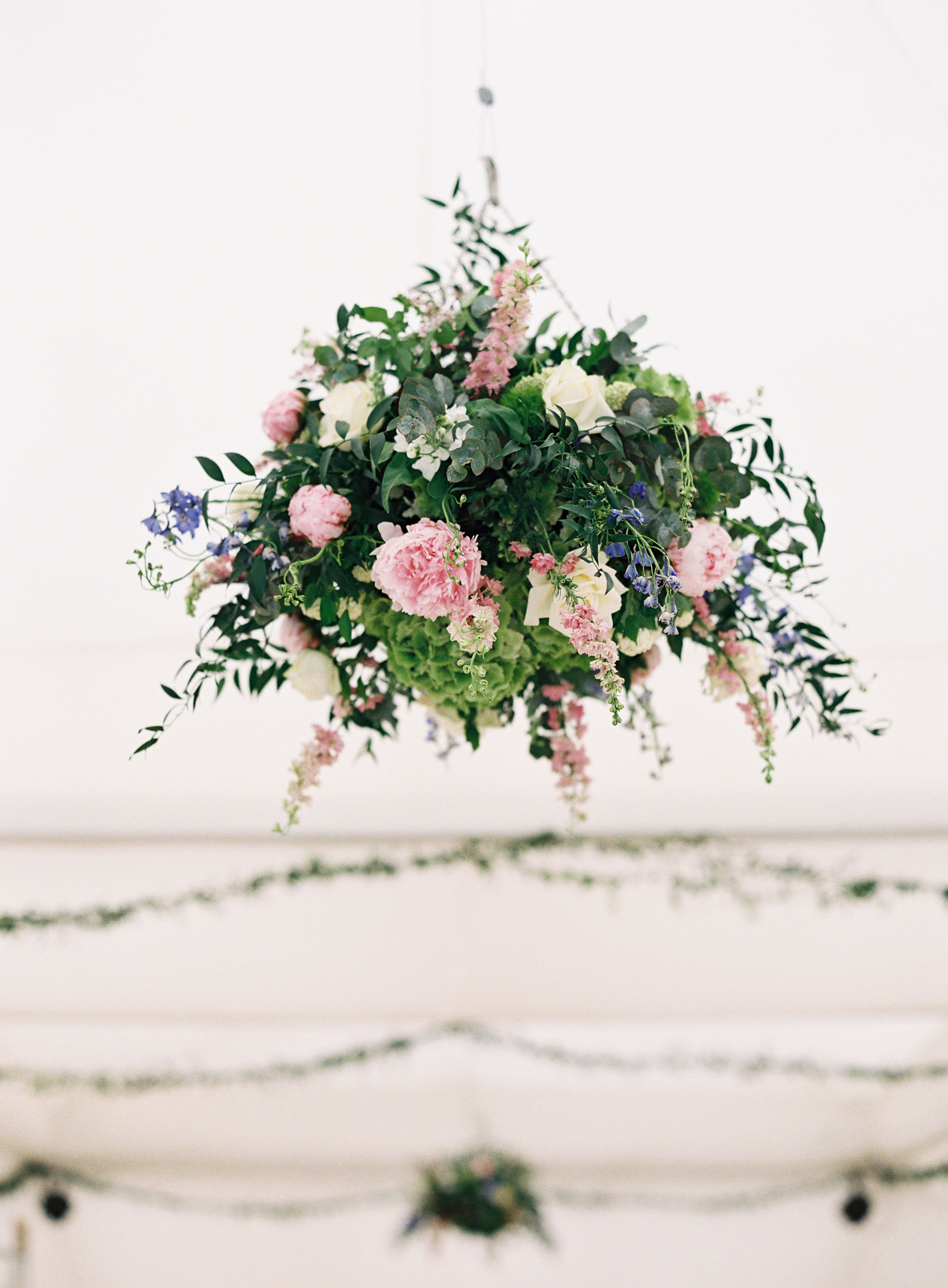 wedding hanging basket in a marqueenicky of forever