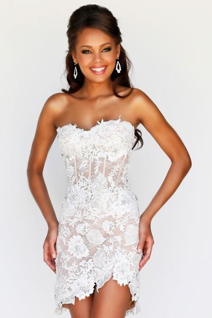 Sexy Sweetheart High Low Hem Short Mini White Lace Beaded Party ...