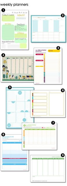 Free Printable Weekly Planners (Cleaning, Meals, Personal